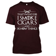 That's What I Do I Smoke Cigars And I Know Things T-Shirt-Maroon-S-Daily Steals