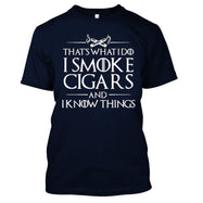 That's What I Do I Smoke Cigars And I Know Things T-Shirt-Navy Blue-M-Daily Steals