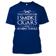 That's What I Do I Smoke Cigars And I Know Things T-Shirt-Royal Blue-S-Daily Steals