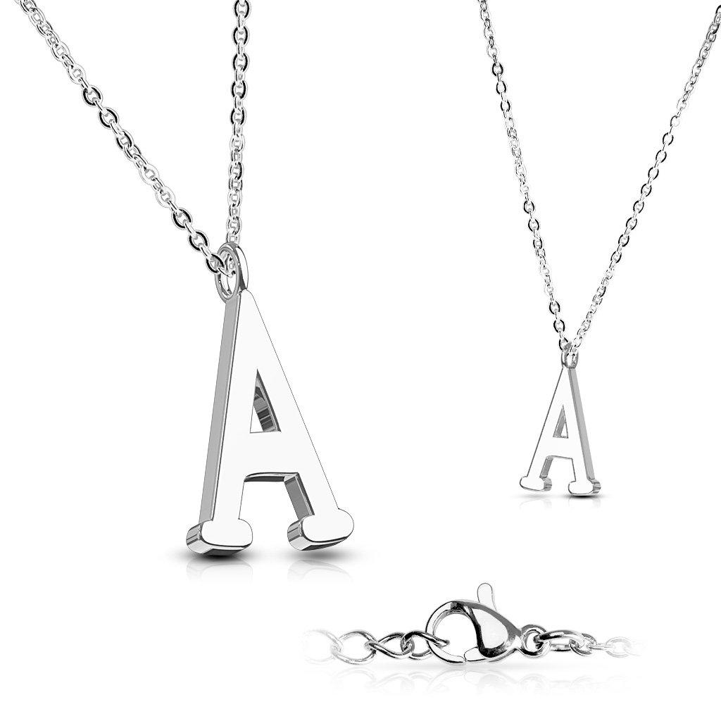 Alphabet Initial 316L Stainless Steel Pendant with Chain - 26 Letters