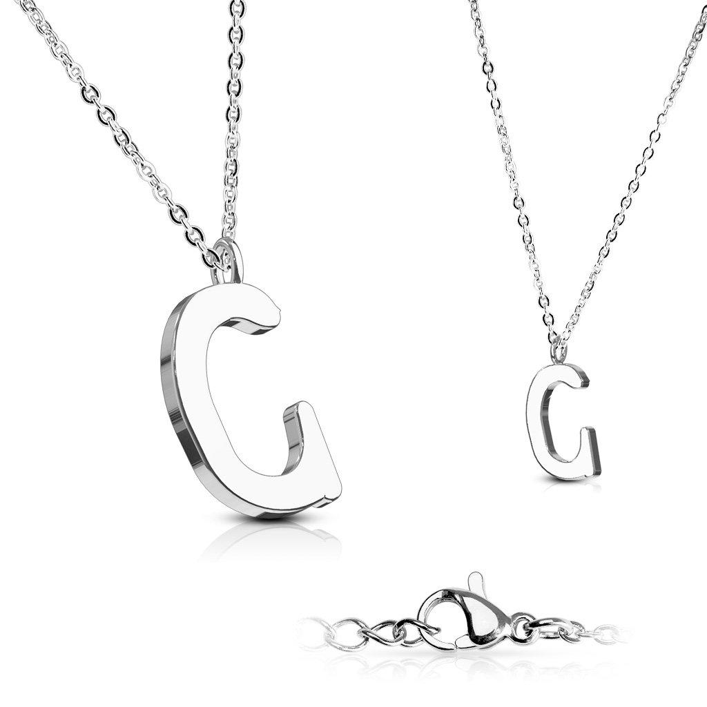 Alphabet Initial 316L Stainless Steel Pendant with Chain - 26 Letters-c-Daily Steals