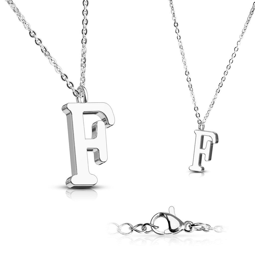 Alphabet Initial 316L Stainless Steel Pendant with Chain - 26 Letters-f-Daily Steals
