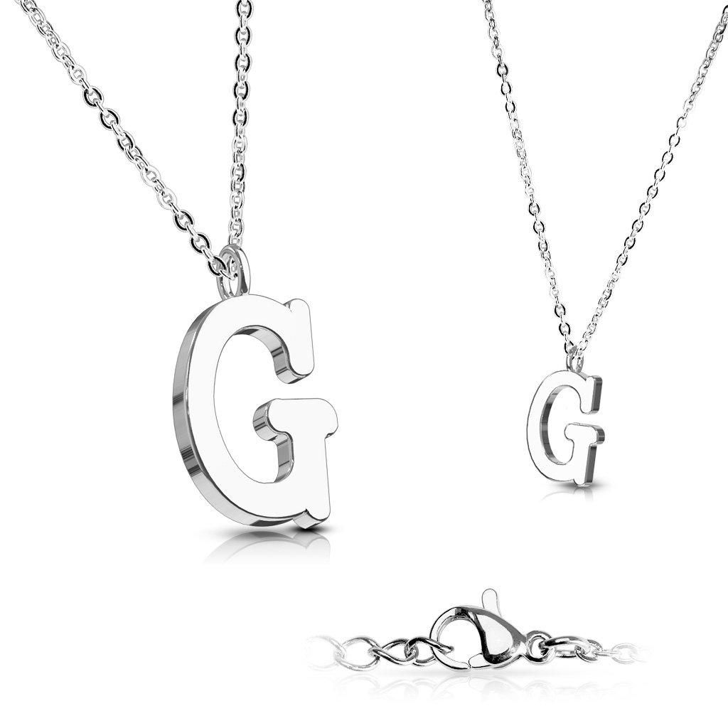 Alphabet Initial 316L Stainless Steel Pendant with Chain - 26 Letters-g-Daily Steals