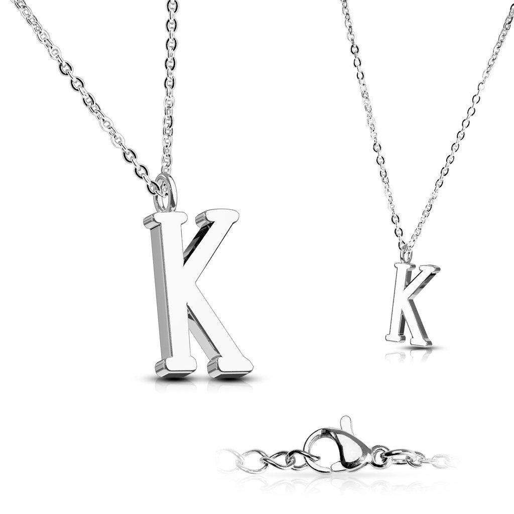 Alphabet Initial 316L Stainless Steel Pendant with Chain - 26 Letters-k-Daily Steals