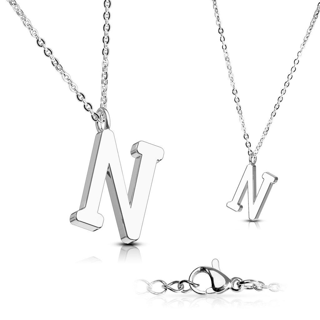 Alphabet Initial 316L Stainless Steel Pendant with Chain - 26 Letters-n-Daily Steals