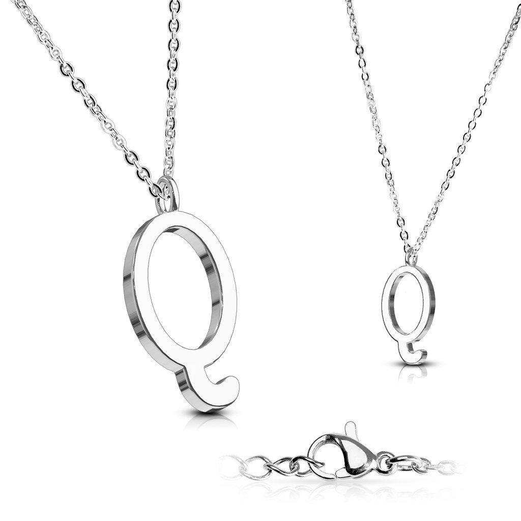 Alphabet Initial 316L Stainless Steel Pendant with Chain - 26 Letters-q-Daily Steals