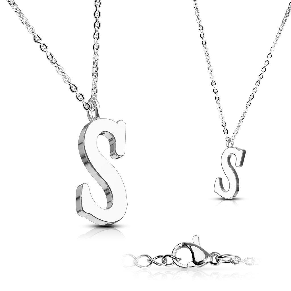 Alphabet Initial 316L Stainless Steel Pendant with Chain - 26 Letters-s-Daily Steals