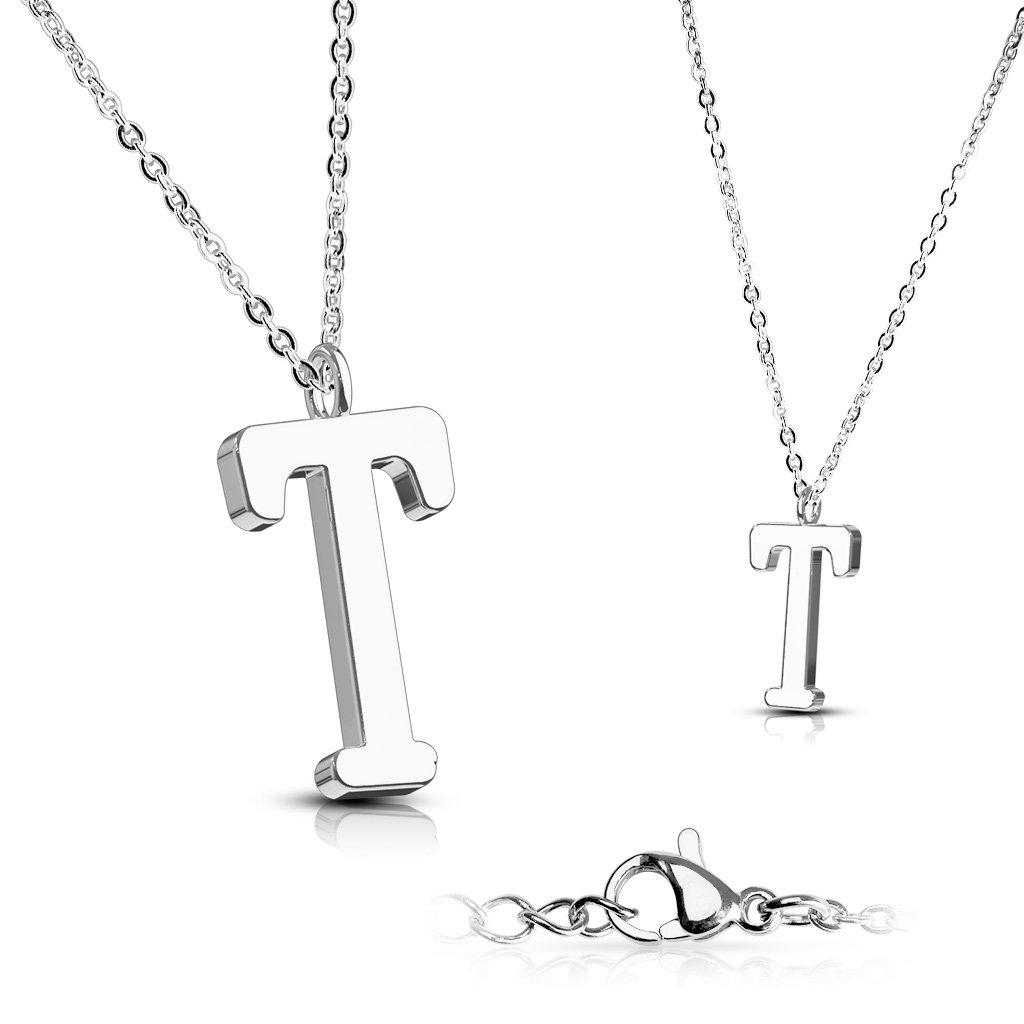 Alphabet Initial 316L Stainless Steel Pendant with Chain - 26 Letters-t-Daily Steals