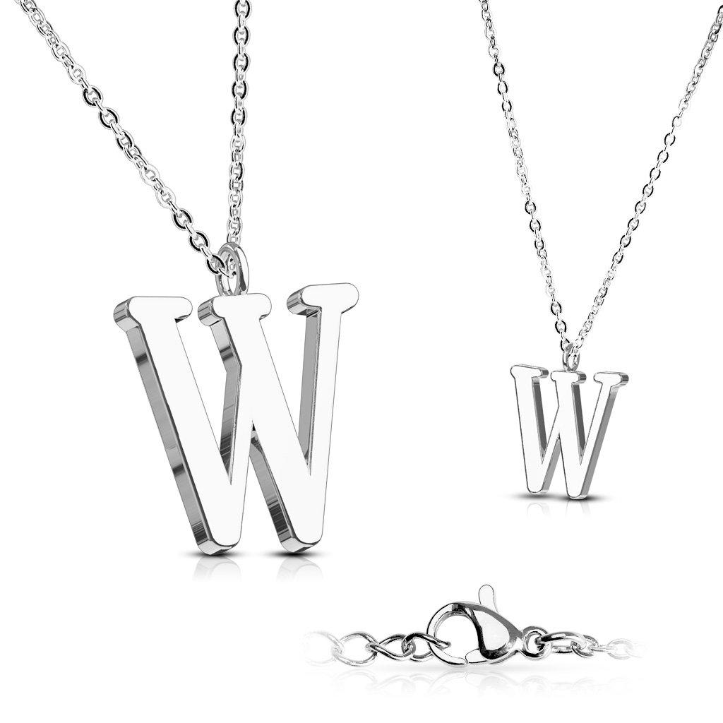 Alphabet Initial 316L Stainless Steel Pendant with Chain - 26 Letters-w-Daily Steals