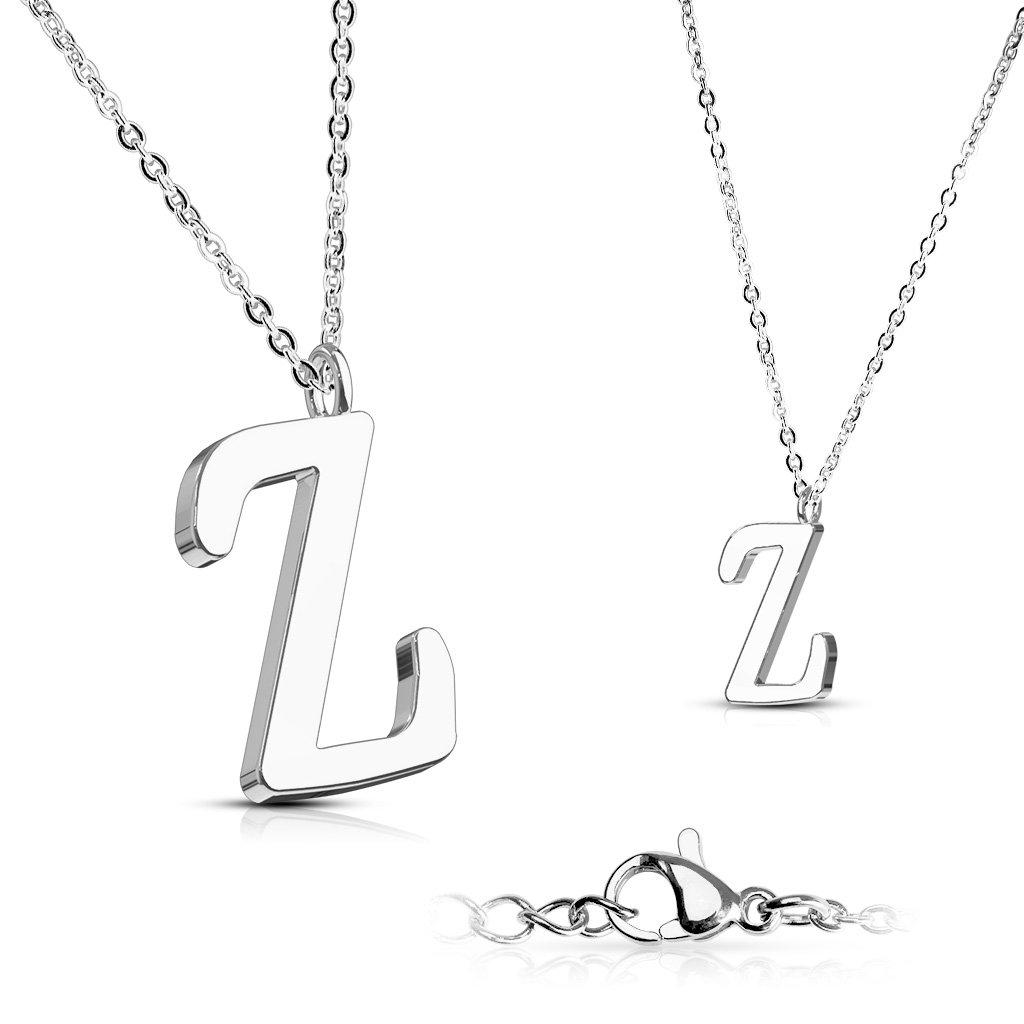Alphabet Initial 316L Stainless Steel Pendant with Chain - 26 Letters-z-Daily Steals