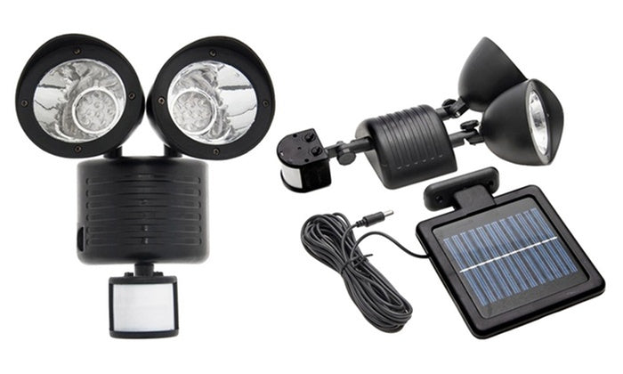 Outdoor Nation Solar Powered Security Floodlight with 22-LED Bulbs-Black-Daily Steals
