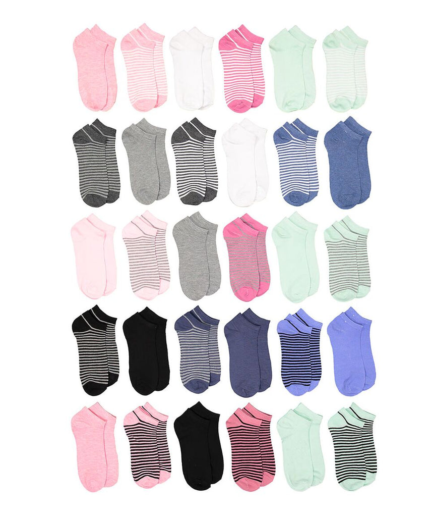 Soxo Women's Assorted Style Low-Cut Socks, 30 Pairs-Stripes-Daily Steals