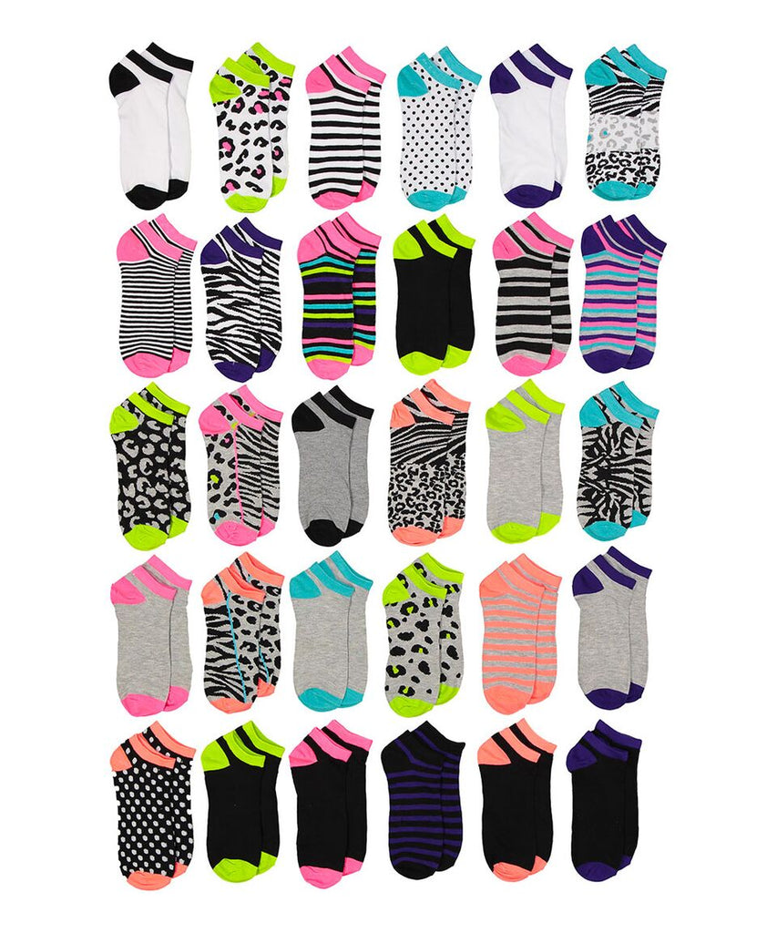 Soxo Women's Assorted Style Low-Cut Socks, 30 Pairs-Mixed Patterns-Daily Steals
