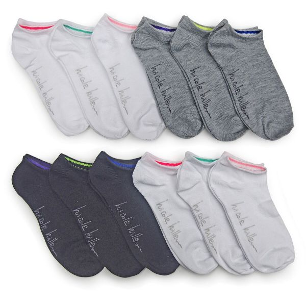 Nicole Miller Women's No Show Socks - 24 Pairs-Solids-Daily Steals