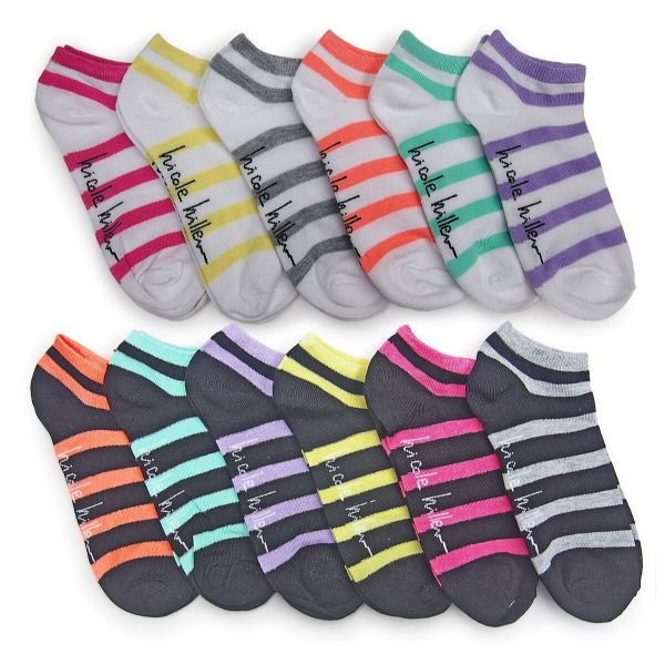 Nicole Miller Women's No Show Socks - 24 Pairs-Stripes-Daily Steals