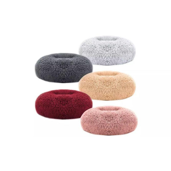 Soft Plush Round Calming Dog Bed-Light Brown-L-