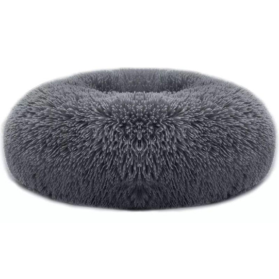 Soft Plush Round Calming Dog Bed-Dark Grey-M-