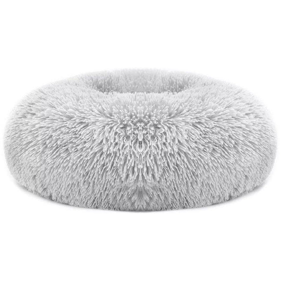 Soft Plush Round Calming Dog Bed-Light Grey-L-