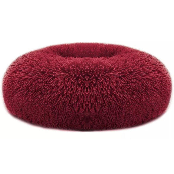 Soft Plush Round Calming Dog Bed-Red-L-