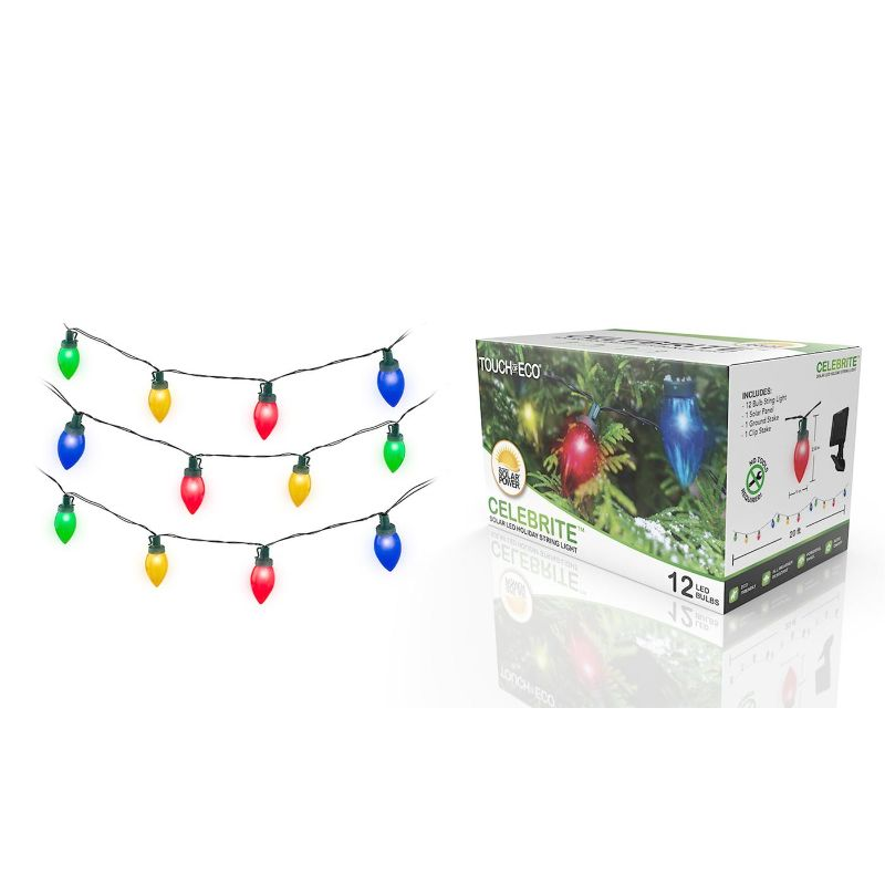 Touch of Eco Solar Multi-Color LED Holiday Bulb String Lights - 1, 2, or 4 Pack-1 Pack-Daily Steals