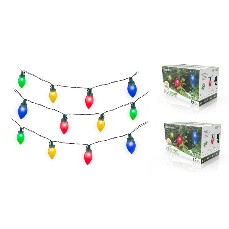 Touch of Eco Solar Multi-Color LED Holiday Bulb String Lights - 1, 2, or 4 Pack-2 Pack-Daily Steals