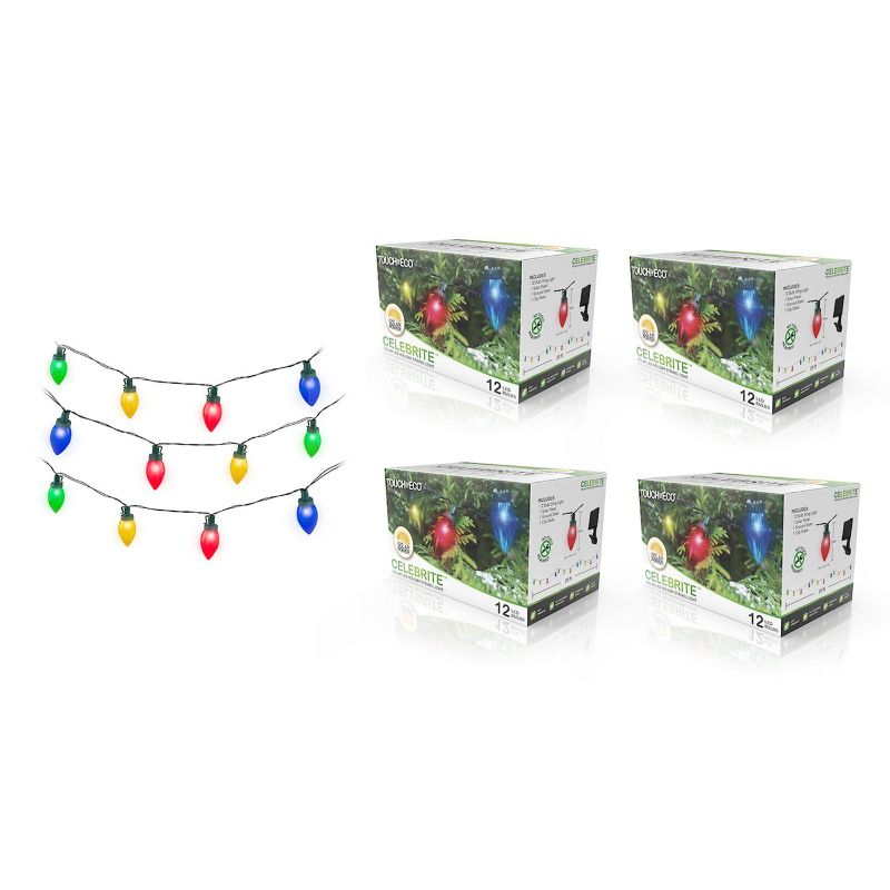 Touch of Eco Solar Multi-Color LED Holiday Bulb String Lights - 1, 2, or 4 Pack-4 Pack-Daily Steals