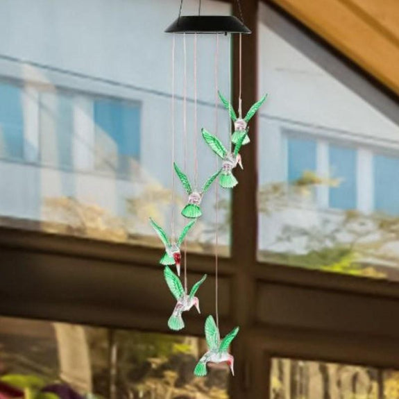 Solarek Hummingbird Color-Changing LED Solar Mobile Wind Chime-