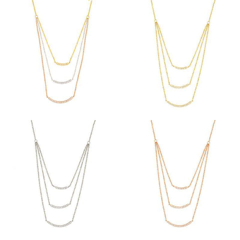 Sole du Soleil Women's 18K Gold Plated CZ Diamond Layered Bar Necklace-White Gold-