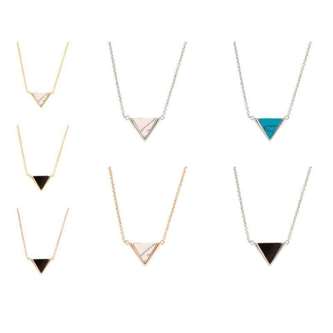 Sole du Soleil Women's 18K Gold Plated Simulated Triangle Fashion Necklace-Blue/White Gold-
