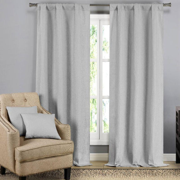 Solid Blackout Textured Curtain Panels with Decorative Pillow Covers - 2 Pack-Silver Light Grey-