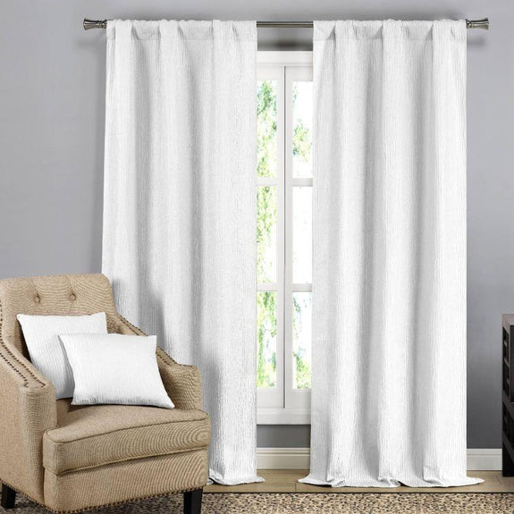 Solid Blackout Textured Curtain Panels with Decorative Pillow Covers - 2 Pack-White Silver-