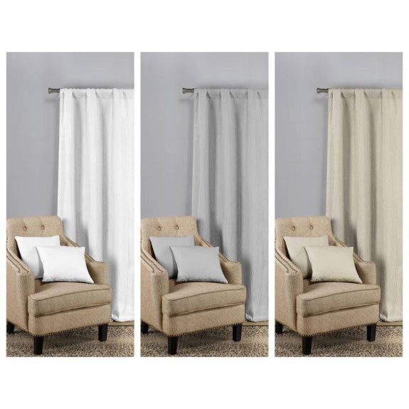 Solid Blackout Textured Curtain Panels with Decorative Pillow Covers - 2 Pack-Beige Gold-