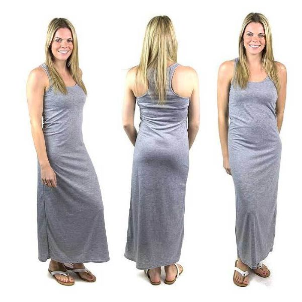 Solid Sexy Racerback Slim-Fit Maxi Dress-Gray-Large-Daily Steals