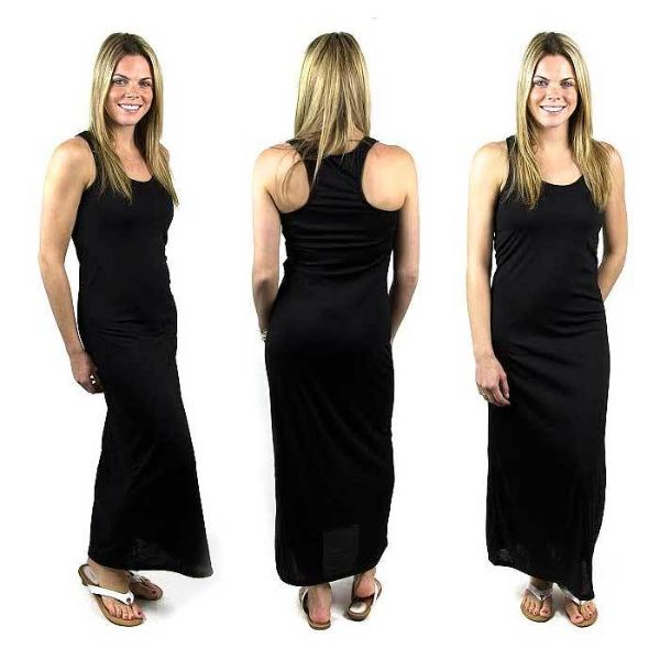 Solid Sexy Racerback Slim-Fit Maxi Dress-Black-XL-Daily Steals