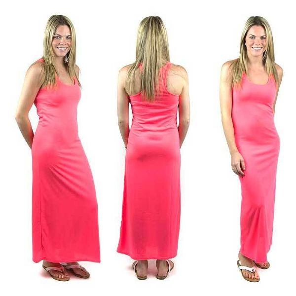 Solid Sexy Racerback Slim-Fit Maxi Dress-Pink-Large-Daily Steals