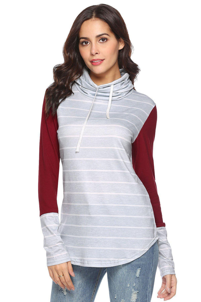 Daily Steals-Solid Sleeve Cowl Shirt-Vêtements pour femmes-Rouge-Large-