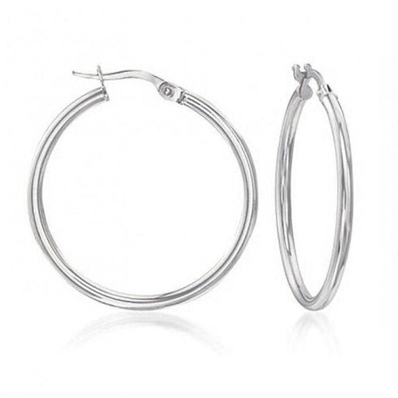 Solid Sterling Silver 15MM Thin And Small French Lock Hoops Earrings-