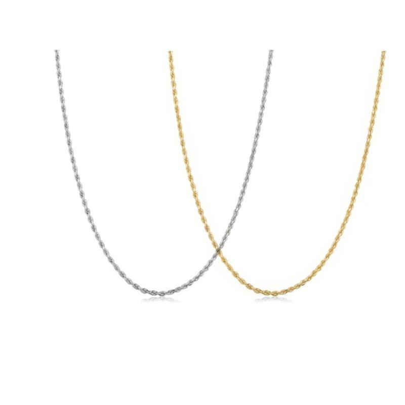 Solid Sterling Silver Twisted Link Rope Chain Necklace Thin And Sturdy-Gold-16''-
