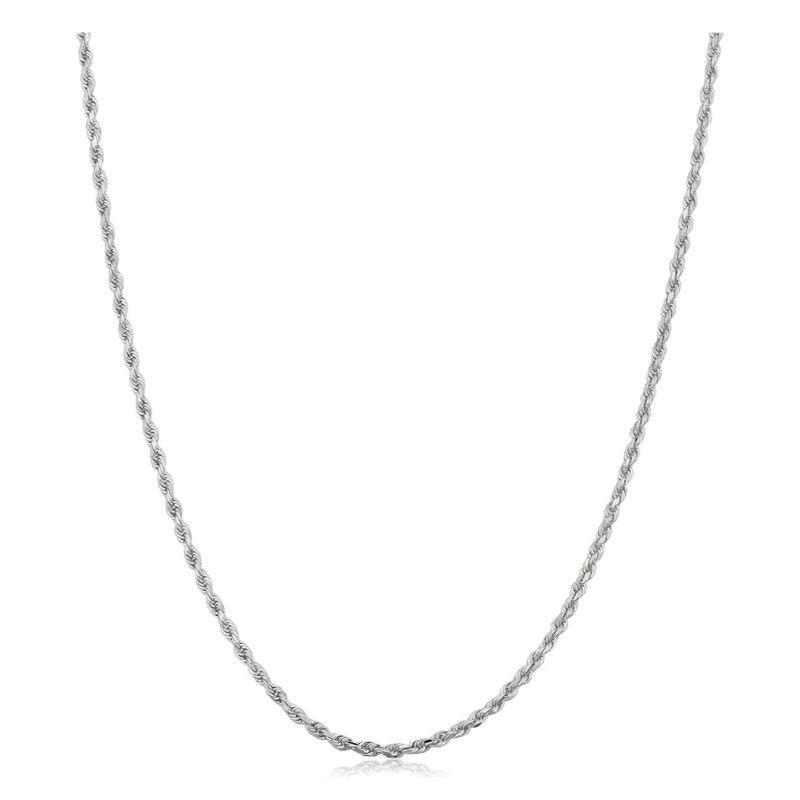 Solid Sterling Silver Twisted Link Rope Chain Necklace Thin And Sturdy-White-22''-