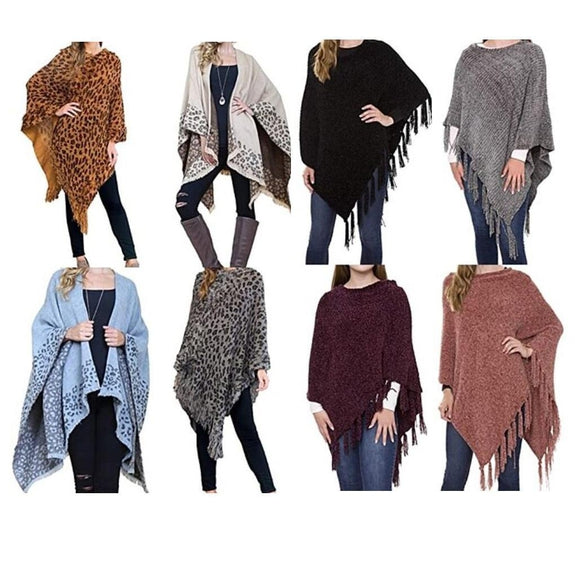 Women's Ultra-Warm Turtleneck Ponchos With Fringes - 2 Pack-Solid & Animal-Daily Steals