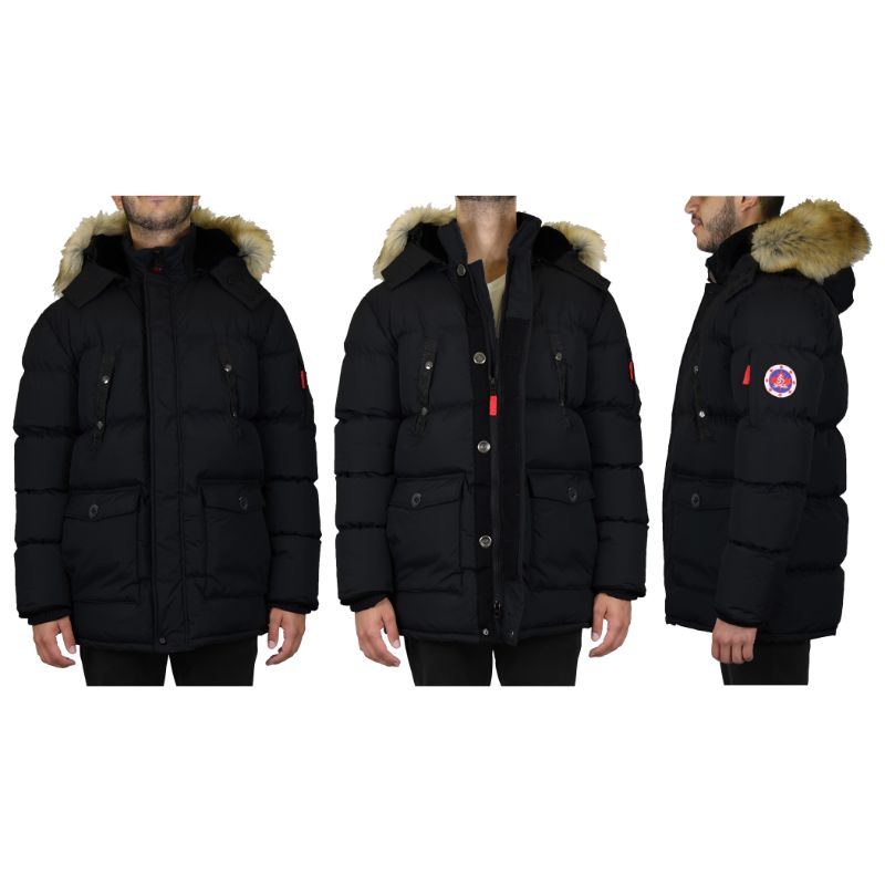 Men's Heavyweight Parka Coat With Detachable Hood-Black-S-Daily Steals
