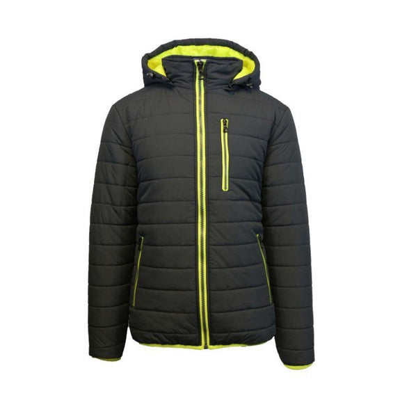 Men's Puffer Jacket with Contrast Trim-Black/Lime-Medium-Daily Steals