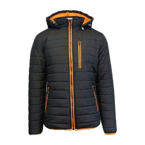 Men's Puffer Jacket with Contrast Trim-Black/Orange-Medium-Daily Steals