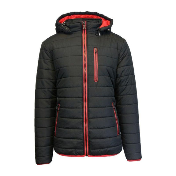 Men's Puffer Jacket with Contrast Trim-Black/Red-Small-Daily Steals