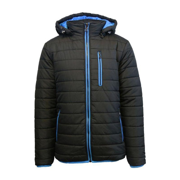 Men's Puffer Jacket with Contrast Trim-Black/Royal-Small-Daily Steals