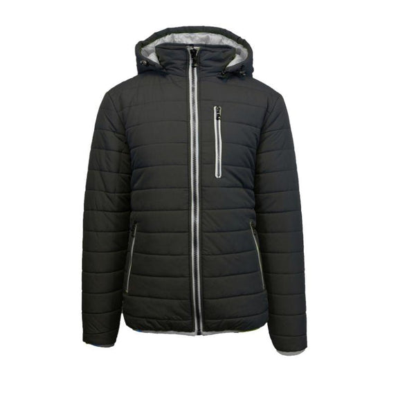 Men's Puffer Jacket with Contrast Trim-Black/Silver-Medium-Daily Steals