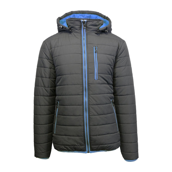 Men's Puffer Jacket with Contrast Trim-Charcoal/Royal-X-Large-Daily Steals
