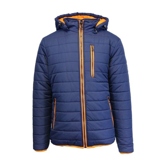 Men's Puffer Jacket with Contrast Trim-Navy/Orange-X-Large-Daily Steals