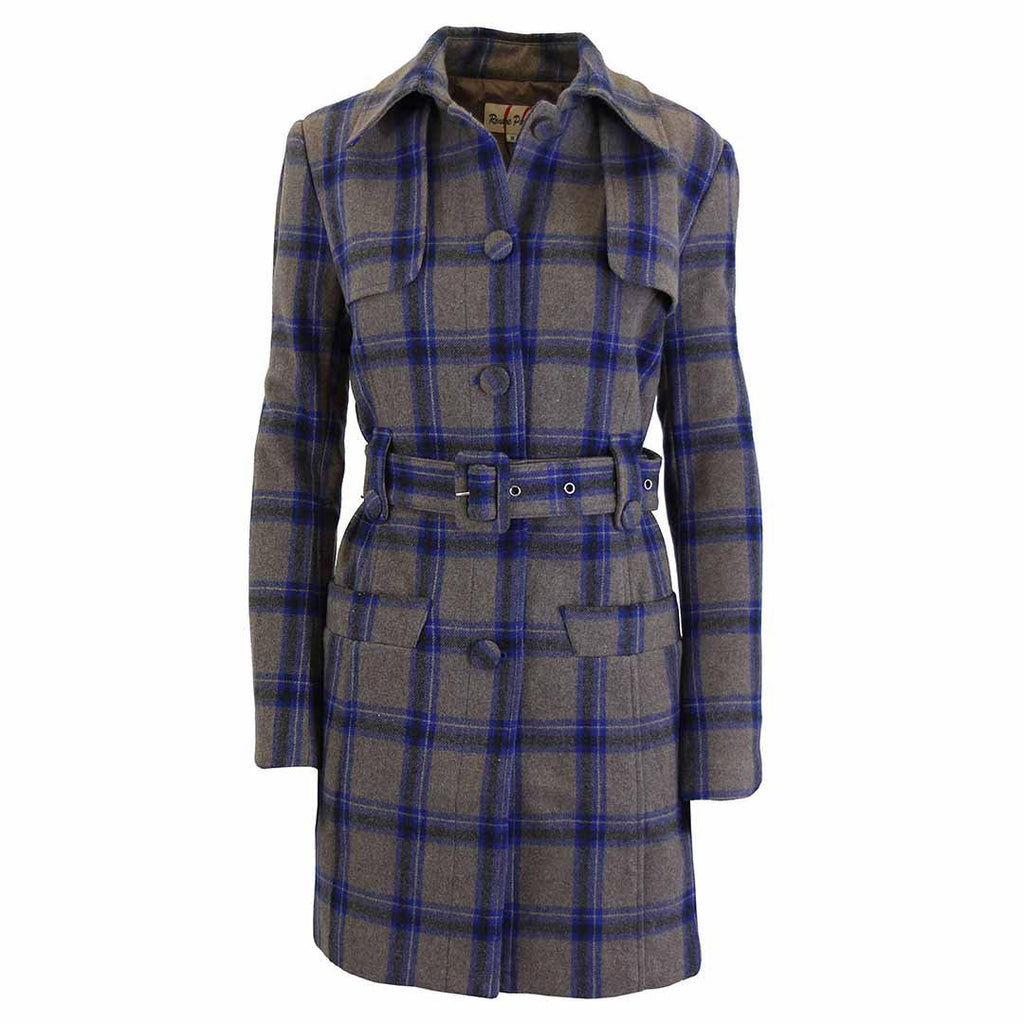 Women's Plaid Wool Trench Coat-Navy/Brown-Large-Daily Steals