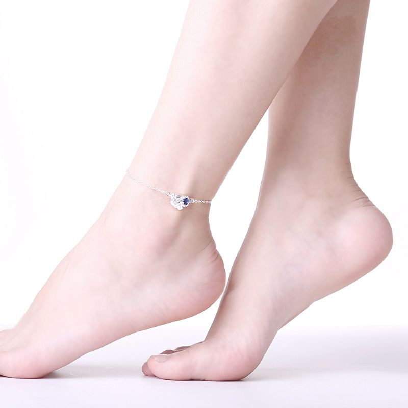LOVE Sapphire Anklet Plated in 18k White Gold-Daily Steals